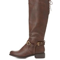 Lace-Up Harnessed Riding Boots by Charlotte Russe - Brown