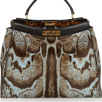 Fendi - Peekaboo large printed calf hair tote