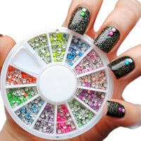 400pcs 12 Color Steels Beads Studs For Nails Metal Decoration 2mm Neon Round Stud UV Gel Nail Art Wheel Design w box # 7217