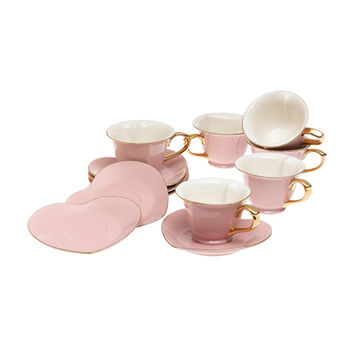 Inside Out Heart Cup & Saucer Set, Pink/Gold