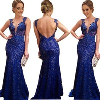 Sexy Lace Chiffon Backless Evening Formal Party Cocktail Long Dress Prom  RED