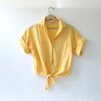Vintage cropped shirt. tie front top. bright yellow button front pocket shirt.