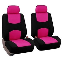 FH Group Universal Fit Flat Cloth Pair Bucket Seat Cover, (Pink/Black) (FH-FB050102, Fit Most Car, Truck, Suv, or Van)