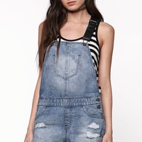 Volcom Stoned Faux Leather Strap Destroyed Shortalls - Womens Shorts - Blue
