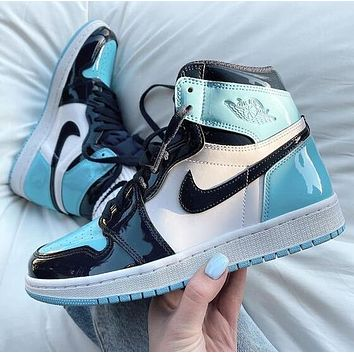 Air Jordan 1 Hot Sale Women Men Casual Sport Basketball Shoes Sneakers Black&White&Blue