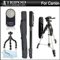 "Triple Tripod Kit + RC-6 Wireless Shutter Release Remote Control For Canon EOS Rebel T5i, T4i, T3i, 5D, 7D, 7D Mark II, 6D, 60D, 70D DSLR Includes 57"" Full Tripod + 67"" Monopod + 10"" Flexible Tripod"