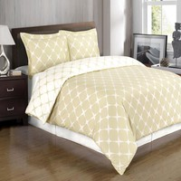 Ivory & Linen Full/Queen 3PC Bloomingdale Duvet Cover Set