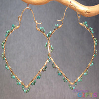 """Hammered pointed hoops wrapped with turquoise, 2-1/4"""" Earring Gold Or Silver"""