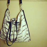 French Script Canvas w/ Leather Straps and Detail Tote / Cross-Body Bag / Weekender