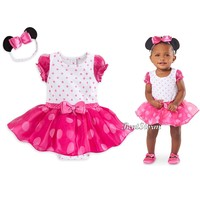 Licensed cool Minnie Mouse PINK Baby Bodysuit Dress Costume & 3D Ears Headband Disney Store