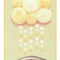 5 pom poms cloud and heart garland baby's room, baby shower or party decor in yellow, pink or blue