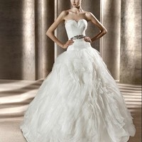 Gorgeous Off-shoulder White Embroidered Wedding Dress from YZ Fashion Bridal