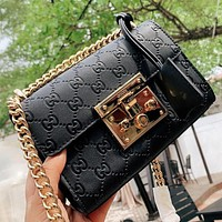 Gucci Padlock Fashionable Women Simple Leather Metal Chain Shoulder Bag Crossbody Satchel Black