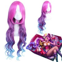 League of Legends LOLArcade Miss Fortune Fluffy Wavy Multicolor Ombre Long Cosplay Wig