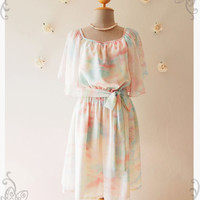 Over the Rainbow : Holiday Pastel Dress Butterfly Sleeve Party Dress Romantic Cocktail Dress Swing Chiffon Bridesmaid Dress No.1 - Size S-M