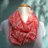 Tribal Print Hot Pink and White Infinity Scarf