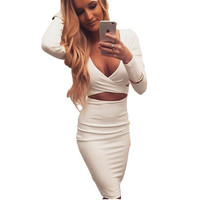 High quality Long sleeve winter women Sexy body Cross night club wear deep V bandage bodycon party dresses hollow out dress