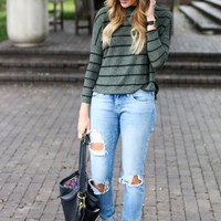 Sera Olive Striped Sweater