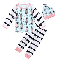 3pcs Kids Baby Clothing Sets Infant Clothes Feather Printed Cotton Long Sleeve Tops Hat Pants Sping Autumn Winter Outfit Set