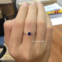 Pear Blue Sapphire Engagement Ring 14K White Gold 4x5mm Solitary