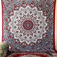 LARGE Cotton Fabric Mandala Hippie Psychedelic Tapestry Star Mandala Bed Bedspread Wall Hanging Throw Bohemian Hippy Bedding Home Decor