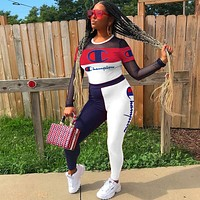 Champion Popular Women Sexy Stitching Long Sleeve Top High Waist Pants Set Two-Piece Sportswear