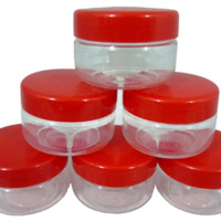 Sunpet 50 ml Red Top Plastic Food Storage Jars Canisters (6 Pack) - In The Kitchen | Popat Store