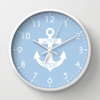 Love Hope Anchor Placid Blue Wall Clock by BeautifulHomes   Society6