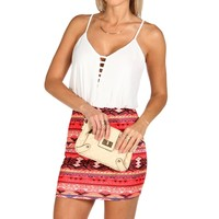 Sale-red Bar Front Tribal Dress
