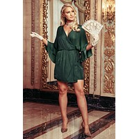 You Had Me At Hello Ruffle Wrap Dress (Forest Green)