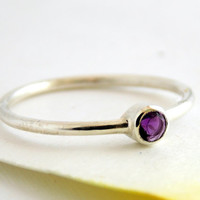 Sterling Silver Birthstone Ring - ONE stackable birthstone ring / Silver ring / sterling silver ring / birthstone ring