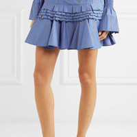 Maggie Marilyn - Composed ruffled striped cotton-poplin mini skirt
