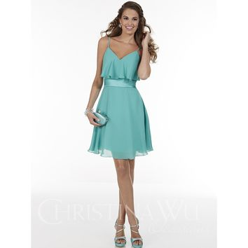 Christina Wu Occasions 22596 Short Spaghetti Strap Chiffon Bridesmaid Dress