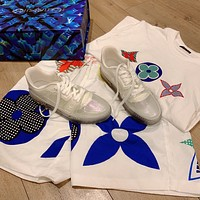 LV Louis Vuitton Men's And Women's Leather Trainer Low Top Sneakers Shoes