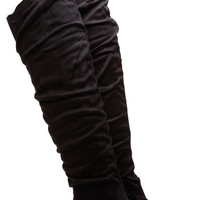 Over the Knee Faux Suede Black Boots