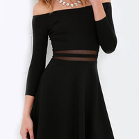 Black Off-Shoulder Mesh Paneled Flare Dress