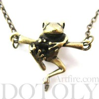 Baby Frog on a Branch Animal Charm Necklace in Bronze   Animal Jewelry
