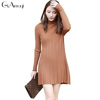 Cansual Women Autumn Knit Dresses 2016 Long Sleeve Tropical Long sweater Dress Solid Hedging Black Dresses