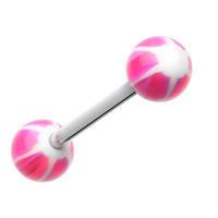 Swirl Punch Acrylic Top Barbell Tongue Ring