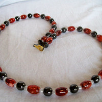 MAGNET NECKLACE of Red Acrylic Beads and Dark Grey Magnet Beads