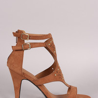 Qupid Suede Perforated And Studded Open Toe Heel
