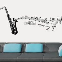 Wall Decal Vinyl Sticker Decals Art Decor Saxhapone Sax Tube Instrument Music JazzMan Jazz Notes Melody Song Bedroom Dorm Kids Nursery(r754)