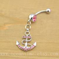 Anchor Belly Button Rings,anchor belly button Jewelry,bling anchor navel ring, navy ring,pink jewelry
