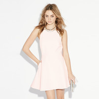 Europe and Solid Color Halter a Sweet Dress