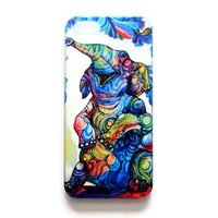iPhone 5 Case Elephant iPhone 5 s Cover Tribal iPhone Hard Cover Abstract Painting Phone 5 Back Cover Colorful 2617