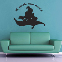A Whole New World - Aladdin and Jasmine Silhouette Wall Decal