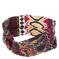 Festive Elephant Print Knotted Headwrap