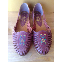 Vintage Woven BRAIDED Plum Leather Huaraches Sandals 7 M ETHNIC