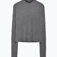SWEATER WITH FRILL NECKLINE