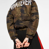 SHORT CAMOUFLAGE PRINT QUILTED COAT